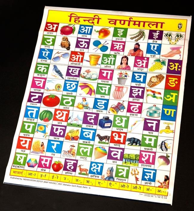 ヒンディ語のアルファベット - 教育ポスターの写真