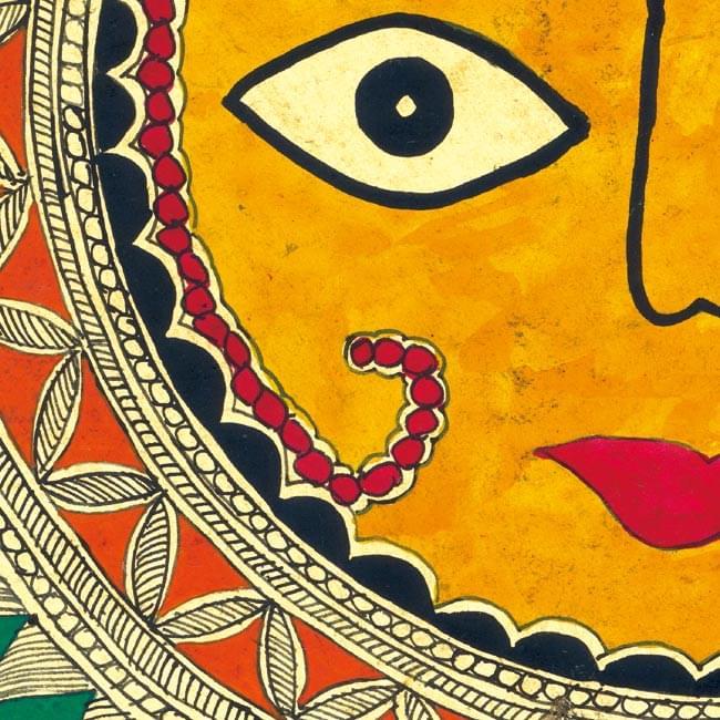 ミティラー画のポスター - スーリャ 2 - 一部分を拡大してみました