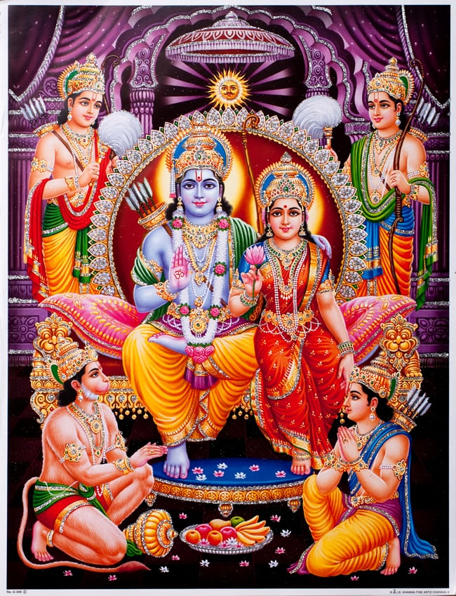 〔約40.5cm×約30.5cm〕輝くラメ入り・インドのヒンドゥー神様ポスター - ラーマヤナの写真