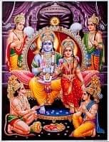 〔約40.5cm×約30.5cm〕輝くラメ入り・インドのヒンドゥー神様ポスター - ラーマヤナ
