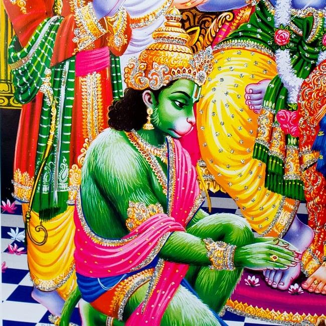 〔約40.5cm×約30.5cm〕輝くラメ入り・インドのヒンドゥー神様ポスター - ラーマヤナ 3 - 細かい所までキラキラしています