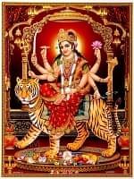 〔約40.5cm×約30.5cm〕輝くラメ入り・インドのヒンドゥー神様ポスター - ドゥルガー 勝利の女神