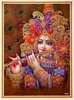 〔約40.5cm×約30.5cm〕輝くラメ入り・インドのヒンドゥー神様ポスター - クリシュナ