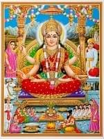 〔約40.5cm×約30.5cm〕輝くラメ入り・インドのヒンドゥー神様ポスター - サントーシ・マー Santoshi Mata