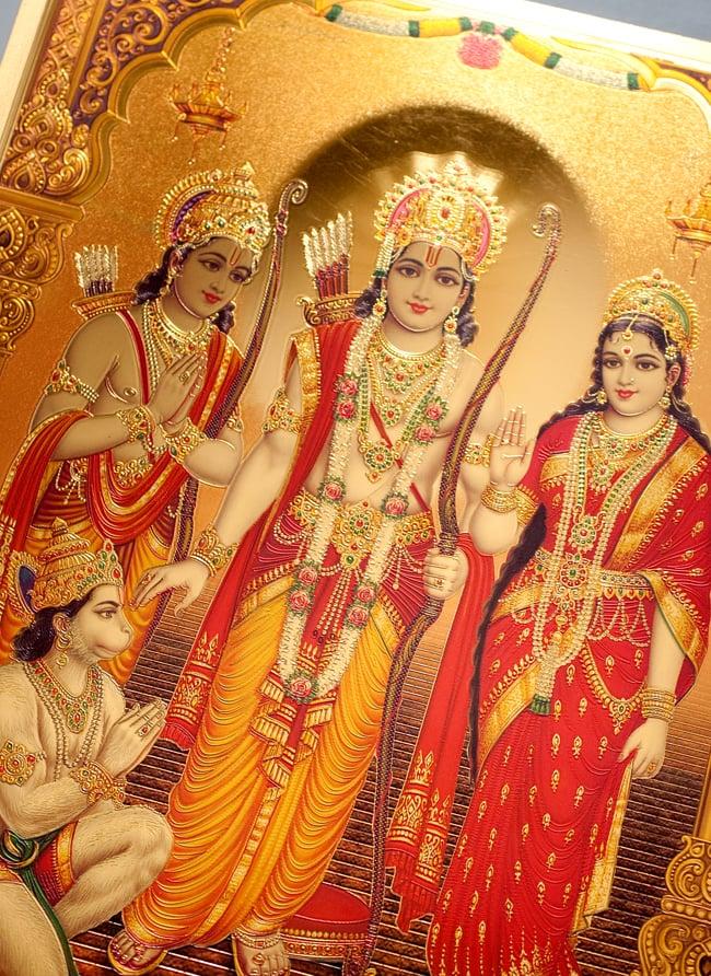 〔約40cm×約30cm〕インドのヒンドゥー神様ゴールドポスター - ラーマヤナ 2 - 拡大写真です。金色ベースなので通常のポスターとは一線を画する光沢感。見ていると引き込まれます。