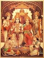 〔約40cm×約30cm〕インドのヒンドゥー神様ゴールドポスター - ラーマヤナ