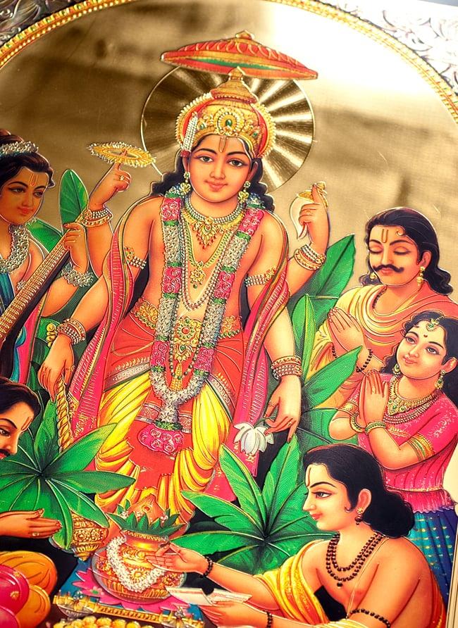 〔約40cm×約30cm〕インドのヒンドゥー神様ゴールドポスター - ムルガン 戦いの神様 2 - 拡大写真です。金色ベースなので通常のポスターとは一線を画する光沢感。見ていると引き込まれます。