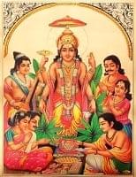 〔約40cm×約30cm〕インドのヒンドゥー神様ゴールドポスター - ムルガン 戦いの神様