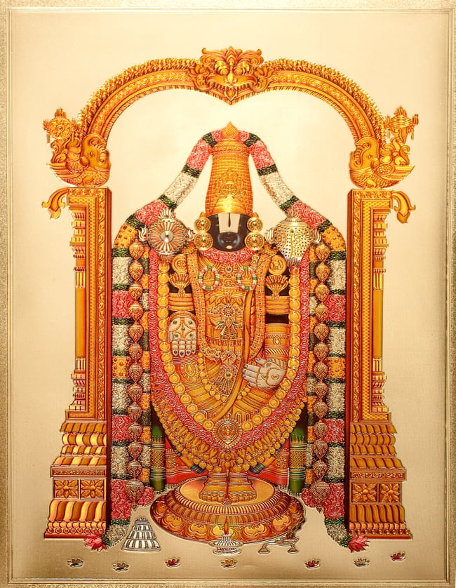 〔約40cm×約30cm〕インドのヒンドゥー神様ゴールドポスター - バラジ 願いの神様の写真