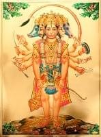 〔約40cm×約30cm〕インドのヒンドゥー神様ゴールドポスター - ハヌマーン 猿族の王子様