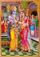 〔約75cm×約53cm〕大判インドのヒンドゥー神様ポスター - ラーマヤナ ラーマとシーター
