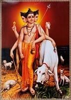 〔約71cm×約51cm〕大判インドのヒンドゥー神様ポスター - ダッタトレーヤ