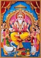 〔約70.5cm×約50.5cm〕大判インドのヒンドゥー神様ポスター - ヴィシュヴァカルマン