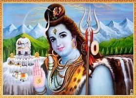 〔約70.5cm×約50.5cm〕大判インドのヒンドゥー神様ポスター - シヴァ神