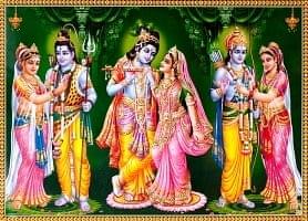 〔約70.5cm×約50.5cm〕大判インドのヒンドゥー神様ポスター - シヴァ・クリシュナ・ラーマファミリー