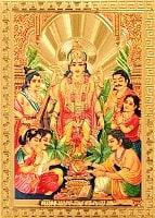 〔約6cm×約8.5cm〕インドのヒンドゥー神様ゴールドお守りカード ステッカー - ヴィシュヌ 世界を維持する神様