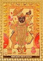 〔約6cm×約8.5cm〕インドのヒンドゥー神様ゴールドお守りカード ステッカー - バラジ 願いの神様