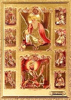 〔約6cm×約8.5cm〕インドのヒンドゥー神様ゴールドお守りカード ステッカー - シク教グル・ナーナクとグル・ゴービンド・シング
