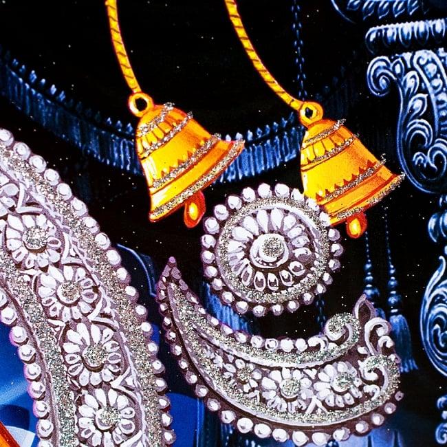 〔約40.5cm×約30.5cm〕輝くラメ入り・インドのヒンドゥー神様ポスター - ガネーシャ 学問と商売の神様の写真4 - 細かい部分までラメが施されています!
