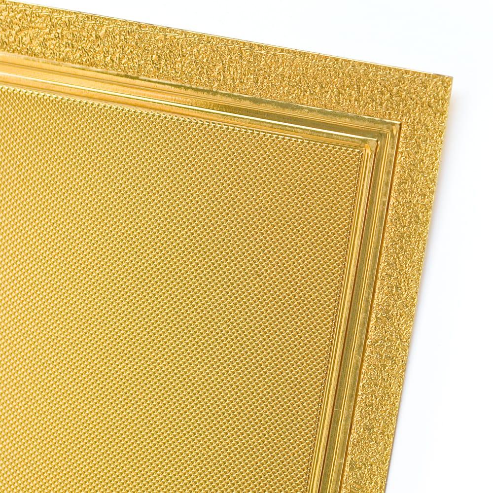 〔約40cm×約30cm〕インドのヒンドゥー神様ゴールドポスター - ラクシュミー・サラスヴァティ・ガネーシャ 5 - 角はこの様になっています