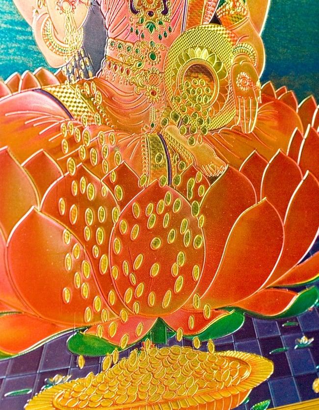 〔約40cm×約30cm〕インドのヒンドゥー神様ゴールドポスター - ラクシュミー 美と富の神様 4 - 細かい所まで綺麗です