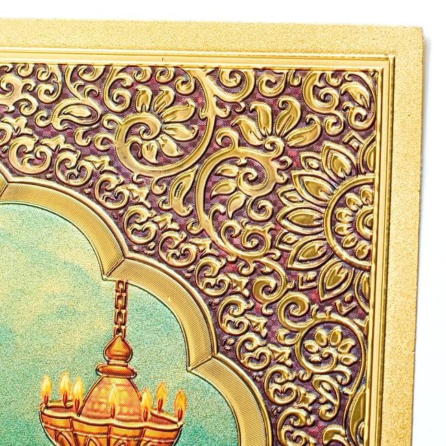 〔約40cm×約30cm〕インドのヒンドゥー神様ゴールドポスター - ラクシュミー 美と富の神様 5 - 角はこの様になっています。