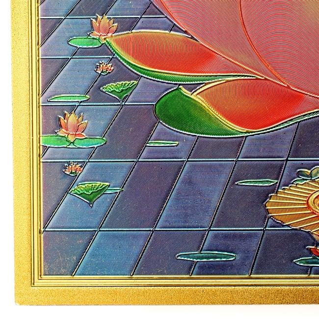〔約40cm×約30cm〕インドのヒンドゥー神様ゴールドポスター - ラクシュミー 美と富の神様 6 - 角はこの様になっています。美しいですね!
