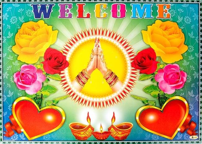 インドの大判ウェルカムポスター 【バラとナマステ】の写真
