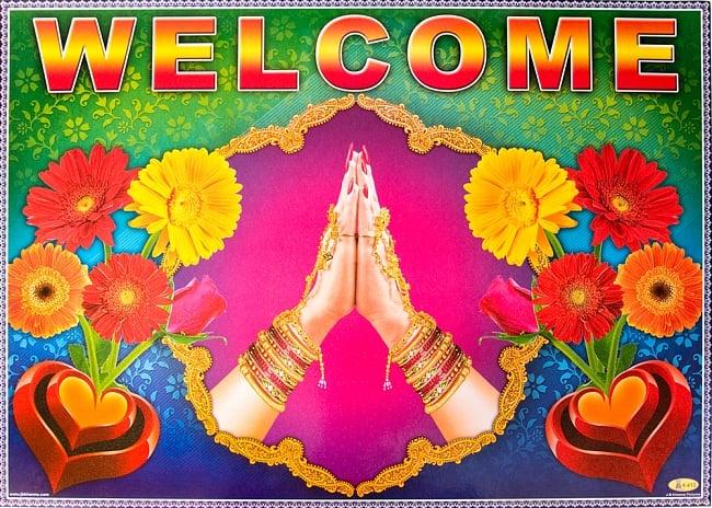 インドの大判ウェルカムポスター 【ガーベラとナマステ】の写真