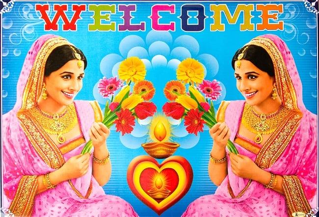 インドの大判ウェルカムポスター 【花とインド美人】の写真
