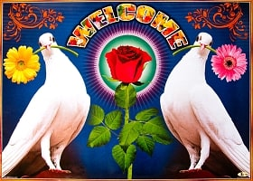インドの大判ウェルカムポスター 【バラとハト】