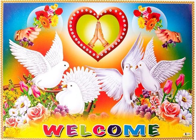 インドの大判ウェルカムポスター 【白鳩とハート】の写真