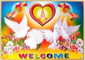 インドの大判ウェルカムポスター 【白鳩とハート】