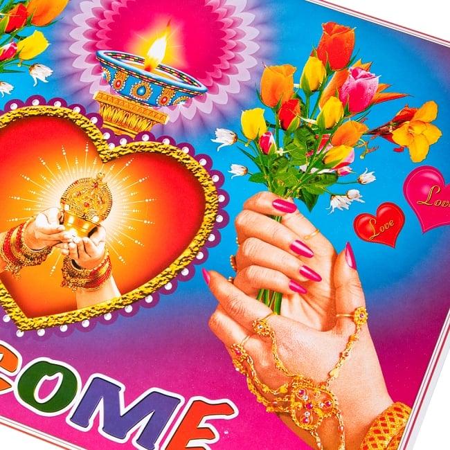 インドの大判ウェルカムポスター 【ハートとランプ2】 2 - 拡大写真です。インドらしい綺麗な彩色が魅力です。