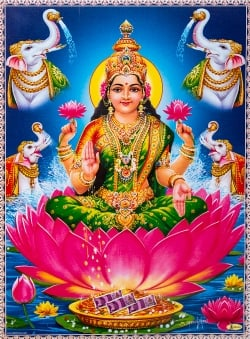 〔約26cm×約36cm〕インドのヒンドゥー神様ポスター - ラクシュミ