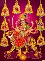 〔約30cm×約40cm〕輝くラメ入りインドのヒンドゥー神様ポスター - ドゥルガー