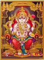 〔約30cm×約40cm〕輝くラメ入りインドのヒンドゥー神様ポスター - ガネーシャ