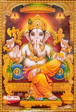 〔約70.5cm×約50cm〕大判インドのヒンドゥー神様ポスター −ガネーシャ