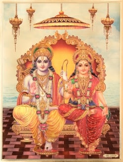 【お得3枚セット】インドのヒンドゥー神様ゴールドポスター〔約40cm×約30cm〕の写真