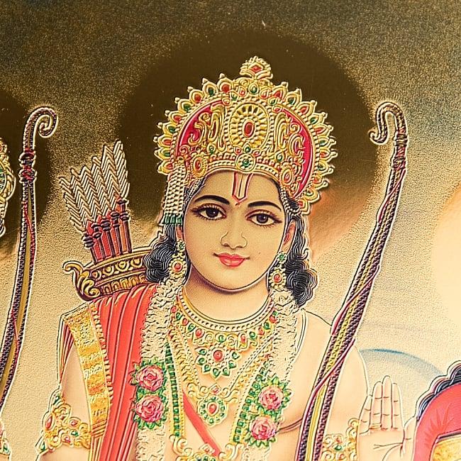 〔約40cm×約30cm〕インドのヒンドゥー神様ゴールドポスター - ラーマヤナ 4 - 見ていると引き込まれます。
