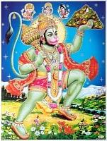〔約40.5cm×約30.5cm〕輝くラメ入り・インドのヒンドゥー神様ポスター - ハヌマーン 猿族の王子様