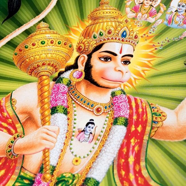 〔約40.5cm×約30.5cm〕輝くラメ入り・インドのヒンドゥー神様ポスター - ハヌマーン 猿族の王子様 2 - 拡大写真です。こちらのポスターで特徴的なのが金色やシルバーのラメです。光の角度でラメが綺麗に輝きます。