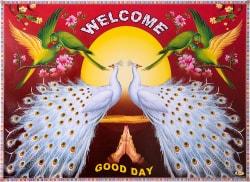 インドのウェルカムポスター 【白孔雀とおうむ】