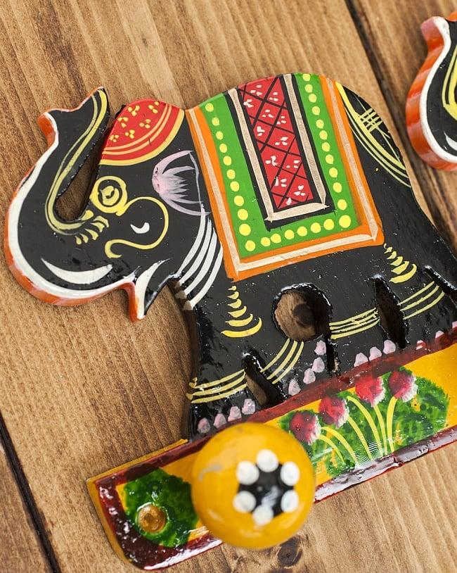 ペイント象さん壁掛フック(黒象に黄色) 2 - キュートなハンドペイントです