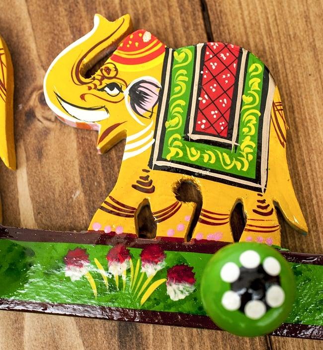 ペイント象さん壁掛フック(黄色象に緑)の写真4 - 手塗りのぬくもりが伝わってくる、ハンドメイドアイテムです