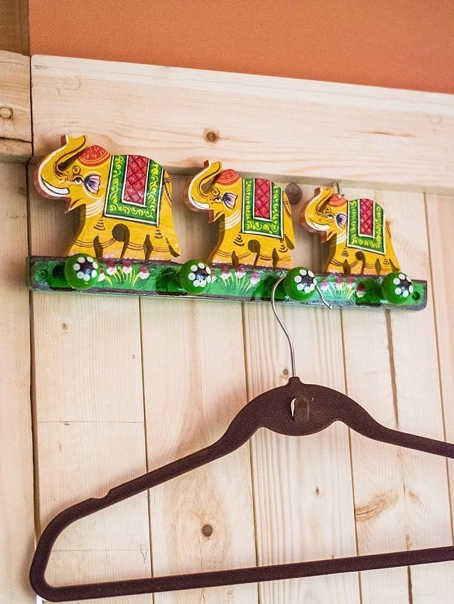 ペイント象さん壁掛フック(黄色象に緑)の写真7 - 室内での使用例になります