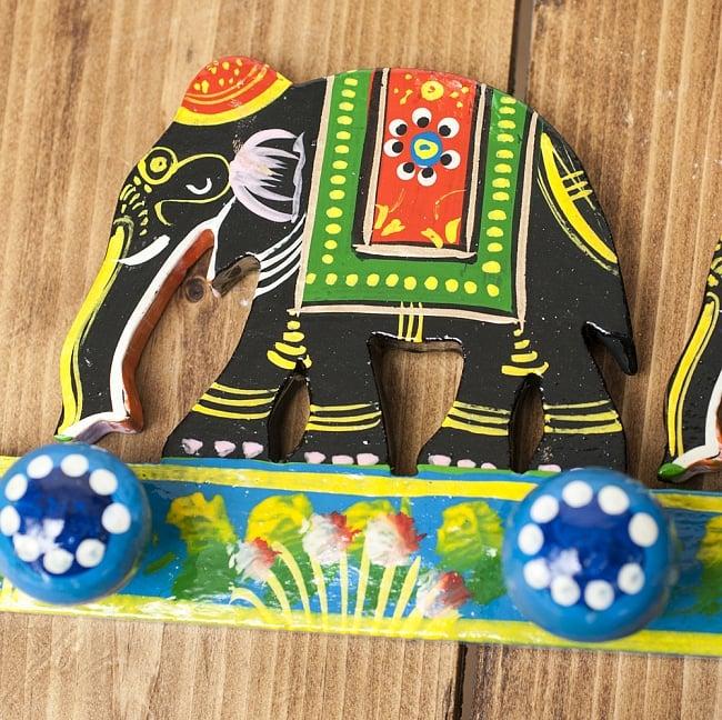 ペイント象さん壁掛フック(黒象に青) 2 - キュートなハンドペイントです
