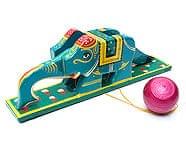 インドの手作りおもちゃ 【象 青緑】