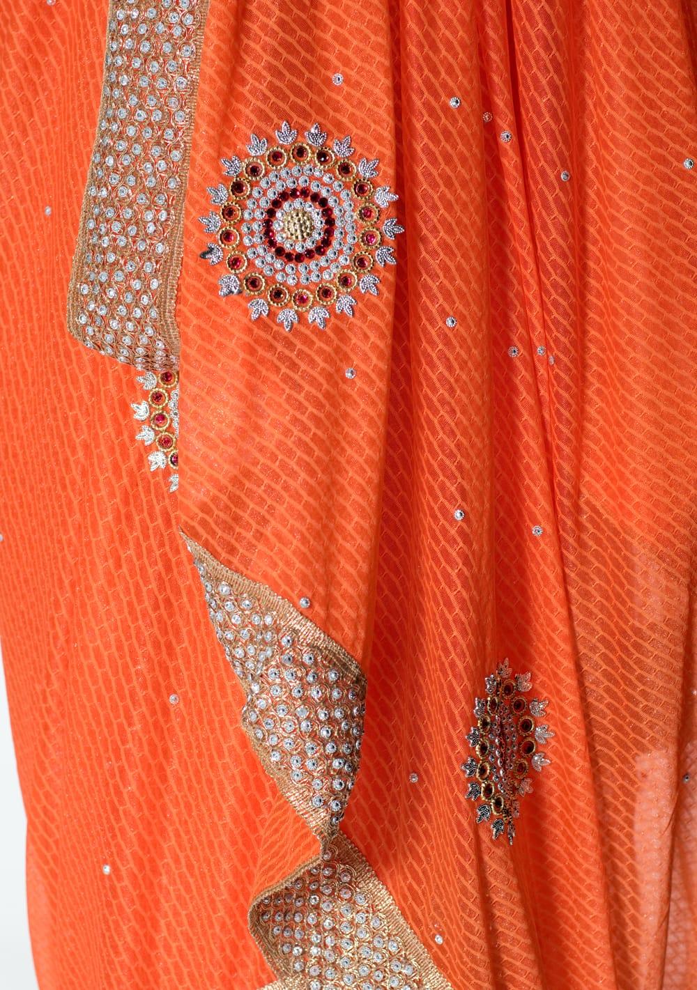 金糸とビーズ刺繍 レンガ模様のマハラニインドサリー【チョリ付き】 - オレンジ 7 - 縁の拡大写真です