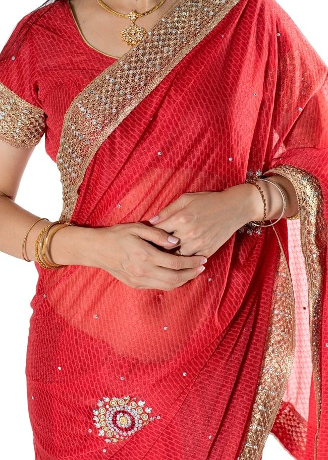 金糸とビーズ刺繍 レンガ模様のマハラニインドサリー【チョリ付き】 - 赤 5 - 拡大写真です